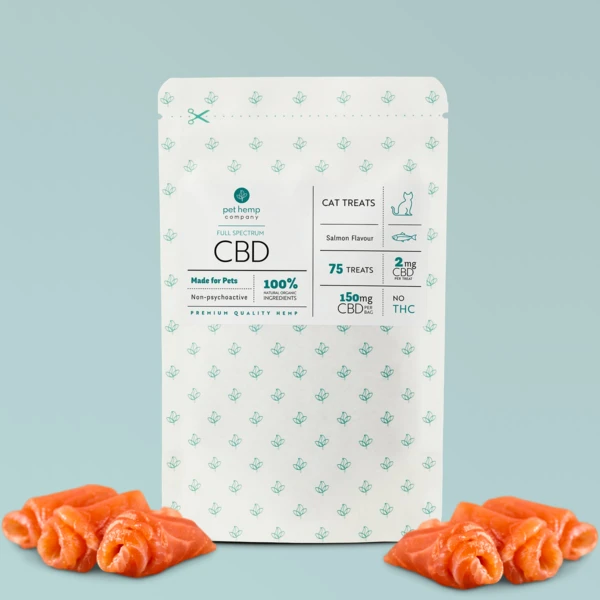 Salmon rolls in front of salmon flavored Cat Treats Packaging