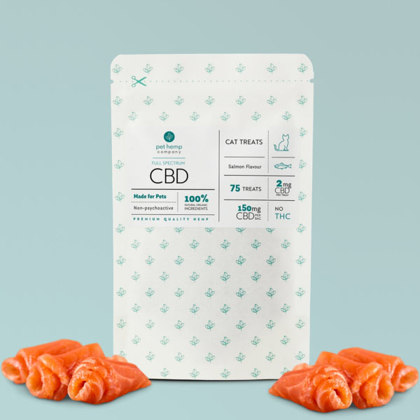 Cat Treats 150mg Front with Salmon displayed outside of packaging