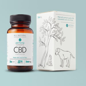 CBD Capsules 300mg bottle with product box next to it
