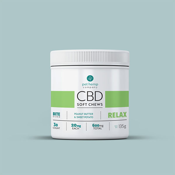 cbd soft chews peanut butter and sweet potato relax with treats outside being displayed