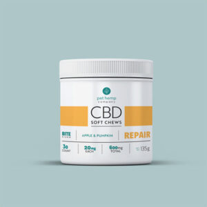 cbd soft chews apple and pumpking repair with treats laid outside